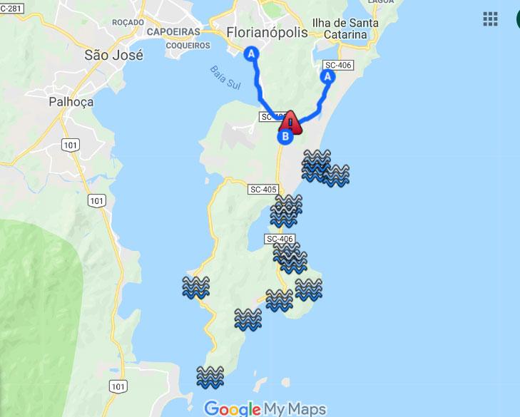 Mapa Sul da Ilha